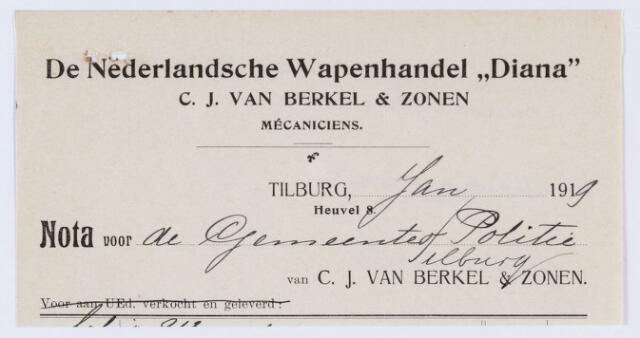 """059909 - Briefhoofd. Nota van De Nederlandsche Wapenhandel """"Diana"""" , C.J. van Berkel & Zonen mécaniciens, voor de gemeente Politie van Tilburg"""