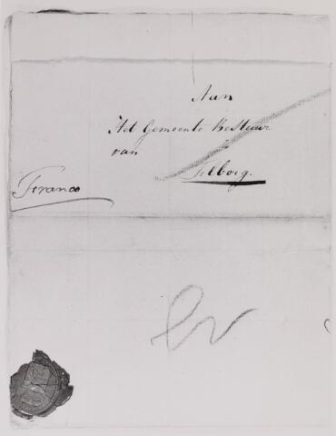 041640 - Postbrieven. Envelop van een brief uit Breda gericht aan het Gemeentesbestuur van Tilburg.