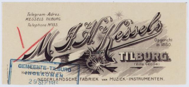 060446 - Briefhoofd. Briefhoofd van M.J.H. Kessels, Artistieke fabrikatie van koperen en houten blaasinstrumenten, strijkinstrumenten enz. enz.