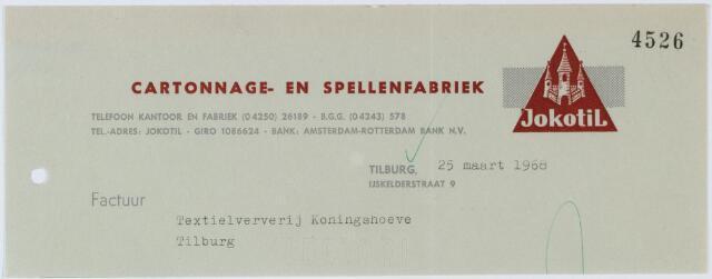 060400 - Briefhoofd. Nota van Cartonnage- en Spellenfabriek Jokotil, IJskelderstraat 9, voor Textielverderij Koninghoeven, Koningshoeven 77
