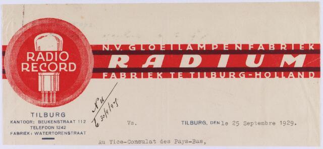 """060947 - Briefhoofd. Briefhoofd van N.V. Gloeilampenfabriek """"Radium"""", Watertorenstraat, kantoor Beukenstraat 112"""
