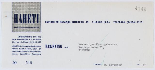 060227 - Briefhoofd. Nota van Haheti, bevestigingsmaterialen, Smidspad 95 voor Ververijen Koningshoeven, Koningshoeven 77