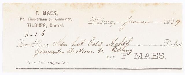 060634 - Briefhoofd. Nota van F. Maes, meester timmerman en aannemer, Korvel voor de gemeente Tilburg