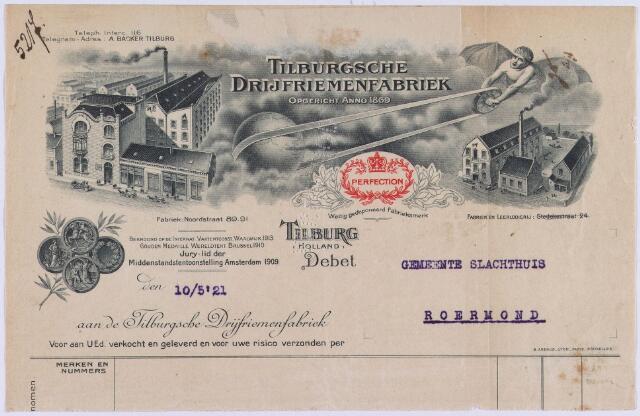 061232 - Briefhoofd. Nota van Tilburgsche Drijfriemenfabriek, Noordstraat 89-91 voor Gemeente Slachthuis te Roermond