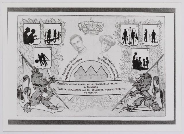 042318 - Eerste Wereldoorlog. Belgische vluchtelingen. Briefkaart uitgegeven in 1918 ter gelegenheid van de tweede verjaardag van de Belgische verbroedering te Tilburg. De kaarten werden verkocht voor vijf cent per stuk ´ten bate van menschlievende werken´ en de opbrengst was bestemd voor hulp aan Belgische (invalide) soldaten, krijgsgevangenen in Duitsland en het gesticht voor Belgische weeskinderen in Den Haag