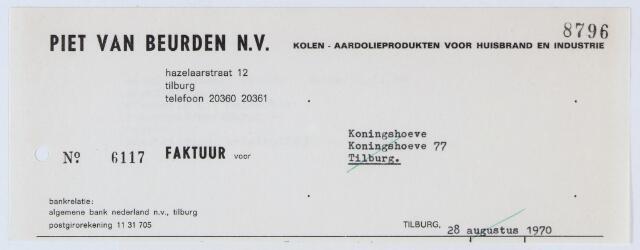 059620 - Briefhoofd. Nota van Piet van Beurden N.V., Kolen - aardolieproducten voor huisbrand en industrie, Hazelaarstraat 12, voor N.V. Ververijen de Koningshoeve