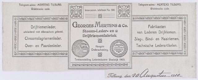 060734 - Briefhoofd. Briefhoofd van Georges Mertens & Co, Stoom-, Leder- en Drijfriemenfabriek.