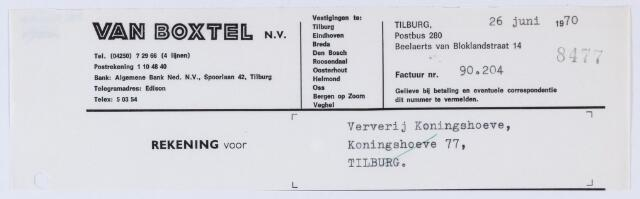 059693 - Briefhoofd. Nota van  van Boxtel N.V., Raadhuisstraat 1, voor Coöp. Ververijen, Koningshoeven 275, later 77