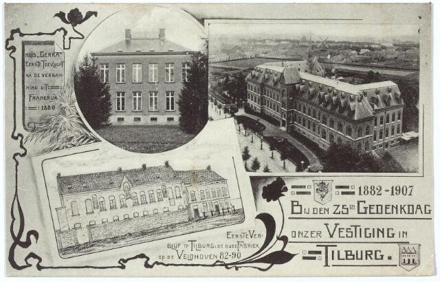 000131 - Kaart uitgegeven bij de 25e gedenkdag van de vestiging van de missionarissen van het H. Hart te Tilburg in 1907. Op de kaart huize Gerra, het eerste verblijf in een Tilburgse textielfabriek aan de Veldhoven en het klooster aan de Bredaseweg.