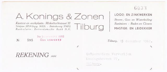 060501 - Briefhoofd. Nota van A. Konings & Zonen, Lood- en zinkwerken, Molenbochtstraat 32 voor Coöperatieve Ververijen, Koningshoeven 77