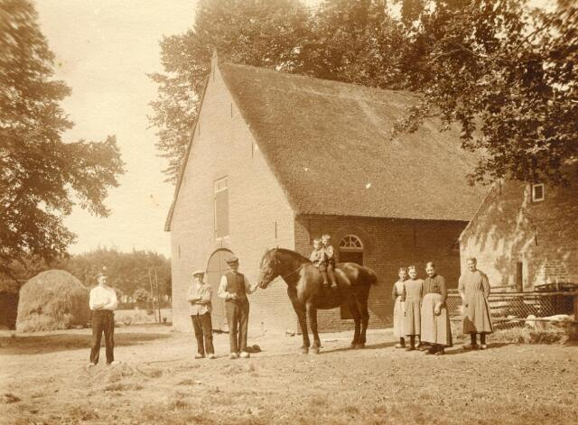 600851 - Van links naar rechts: Harrie, Jos, Cornelis, Wim en Cor (op paard),Jans, Kee, Wouterina en Jana van Loon. Achter Jana de varkensren en het bakhuis.  Kasteel Loon op Zand. Families Verheyen, Kolfschoten en Van Stratum