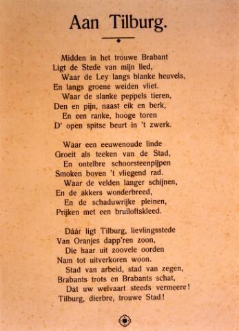 """071391 - Lied """"Aan Tilburg"""", ode aan de stad Tilburg."""