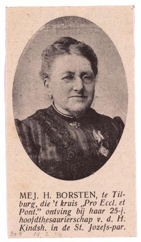 """003714 - Henriëtte Maria BORSTEN, geboren te Tilburg 9 juni 1842, aldaar overleden op 12 februari 1917. Hoofdthesaurierster van het Genootschap der H. Kindsheid parochie St. Joseph, oud-prefecte van de Congregatie van O.L. Vrouw, erelid van de Vereniging van het H. Sacrament, Lid van de Derde Orde van de H. Franciscus, begiftigd met het gouden Erekruis """"Pro Ecclesia et Pontifice""""."""