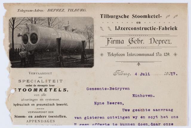 059901 - Briefhoofd. Offerte door Firma Gebr Deprez aan gemeente Eindhoven