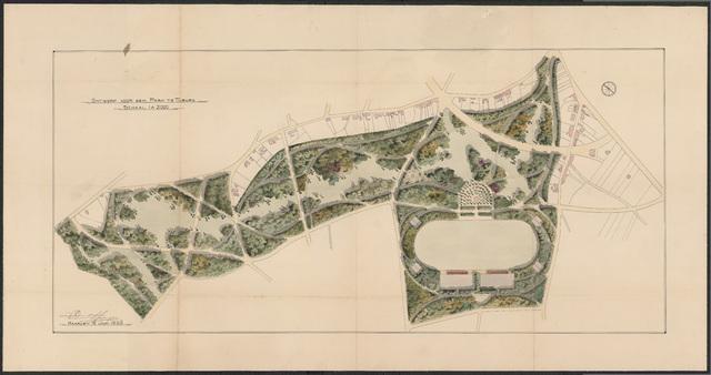 652539 - Ontwerp voor een park ten zuiden van de Berkdijksestraat, ingekleurd. Tekening van Leonard Springer. Tek. 10/6/1920.
