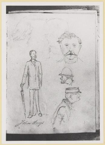 """073446 - tekening door mr. Abraham Hendrik Balbian Verster (1830-1915) Geboren te  Amsterdam overleden te Oisterwijk. Hij woonde met met zijn gezin in 'De Drye Swaantjes"""" aan de Lind. Hij was kantonrechter te Boxtel en Tilburg, bovendien was hij rentmeester over de goederen van baron van Lijnden, hij was stichter van de Israëlische begraafplaats aan de Hondsbergselaan. Een aantal schetsportretten van zijn hand zijn bewaard gebleven."""