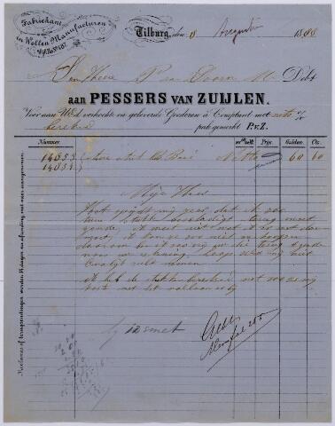 060900 - Briefhoofd. Nota van Pessers van Zuijlen, fabrikant in wollen dekens, Kuiperstraat K 183, voor de heer P. van Dooren