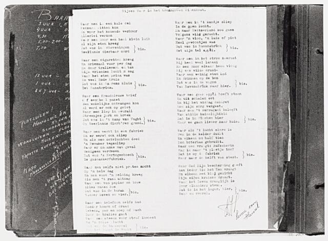 013673 - WOII; WO2; Tweede Wereldoorlog. Verzet. Gedicht over haar verblijf in het concentratiekamp dat verzetstrijdster Leonie van Hassel schreef na de oorlog