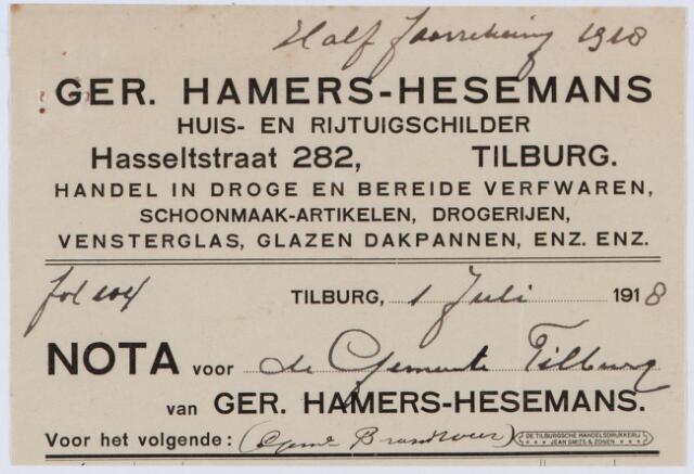 060241 - Briefhoofd. Nota van Ger. Hamers-Hezemans, huisschilder, Hasseltstraat 282, voor de gemeente Tilburg