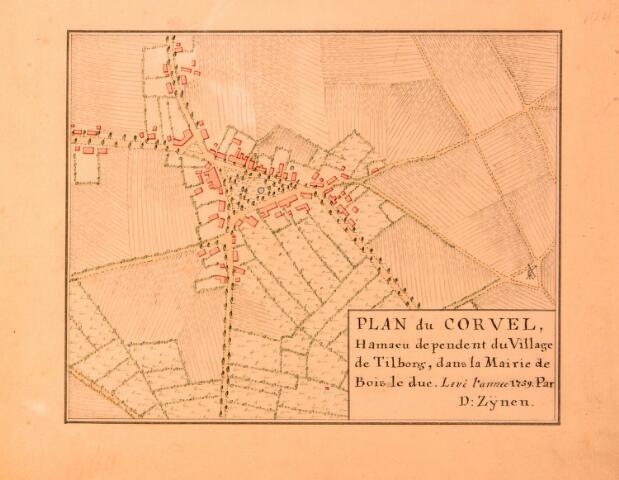 068660 - Kaart. Plan van Korvel. Fragment van de kaart van Diederik Zijnen uit 1760, gekopieerd in 1962 door archiefambtenaar Leo Langeweg.