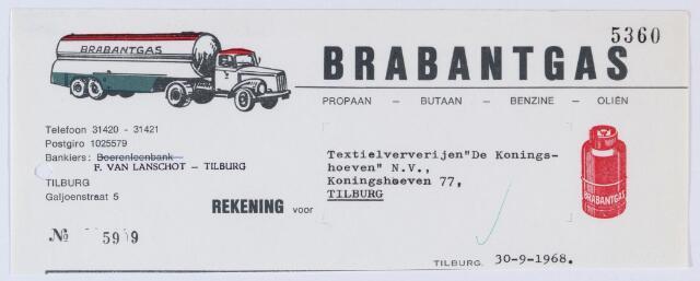 """059704 - Briefhoofd. Nota van Brabantgas, Galjoenstraat 5 voor Textielververijen """"De Koningsheoven""""N.V., Koningshoeven 77"""