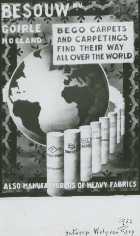 054938 - Affiche ontworpen door decorateur Willy van Rooij voor de firma Van Besouw. De merknaam BEGO is een afkorting van BEsouw GOirle. Textielindustrie