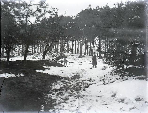 651576 - Sneeuw. Mensen in de bossen spelend in de sneeuw. De Bont. 1914-1945.