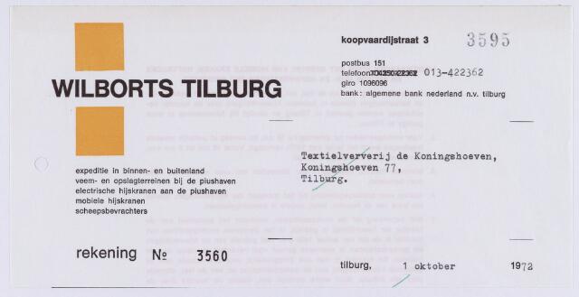 061425 - Briefhoofd. Nota van Wilborts Tilburg, expeditie in binnen- en buitenland, Koopvaardijstraat 3 voor Textielververij de Koningshoeven, Koningshoeven 77