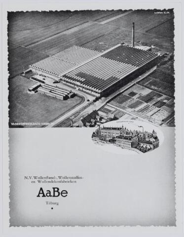 037498 - Textielindustrie. Luchtfoto van de N.V. Wollen-, flanel-, Wollenstoffen-  en dekenfabriek AaBe omstreeks 1938. Het vloeroppervlak bedroeg toen 28.000 vierkante meter
