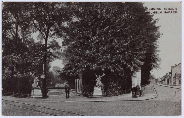 002848 - Wilhelminapark. Ingang park met herten.