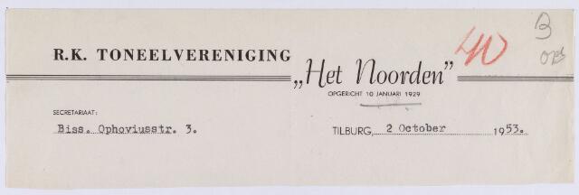 """061499 - Briefhoofd. Verenigingen. Briefhoofd van R.K. Toneelvereniging """"Het Noorden"""", Biss. Ophoviusstraat 3"""