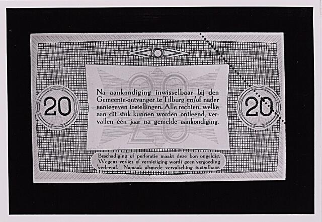 012485 - Tweede Wereldoorlog. Noodgeld. Achterzijde van een biljet van ƒ 20,-, door de gemeente Tilburg achter de hand gehouden voor noodgevallen