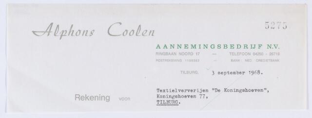 """059856 - Briefhoofd. Nota van Alphons Coolen, aannemingsbedrijf N.V., Ringbaan-Noord 17, voor Textielververijen """"De Koningshoeven"""" Koningshoeven 77"""