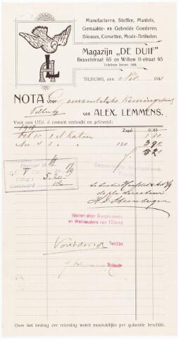 """060568 - Briefhoofd. Nota van Alex Lemmens Magazijn """"De Duif""""  Heuvelstraat 65 en Willem-II-strat 65 voor de gemeentelijke keuringsdienst Tilburg"""