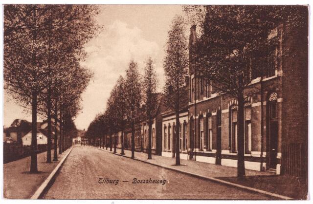 002670 - Bosscheweg richting Heuvel, nu Tivolstraat. De drie huizen rechts droegen v.l.n.r. de huisnummers Bosscheweg 105, 103 en 101. Dit werd in 1932 Bosscheweg 375, 373 en 371. Rond 1920 woonde op nr. 101 industrieel Ignatius Wouters, eigenaar van een ververij en twernerij en getrouwd met Antonetta J.L.M. Brands. In 1922 werd Antonius P.J. Hamer, koopman, geboren te Eindhoven op 16 november 1884 de nieuwe bewoner. Na diens overlijden op 19 maart 1928 werd het pand betrokken door lederhandelaar Cornelis F.P. van den Assem die er woonde tot 1935. In de periode dat Hamer het pand bewoonde, woonde er ook een tijdje diens schoonzoon Jean C.H. Croon, collecteur van de staatsloterij. In het volgende pand, nr. 103, woonde rond 1920 Gaspar Willem Eugene de Quaij met zijn vrouw Josepha M.A. Alberding Thijm. Het volgende pand, nr. 105, was de kruidenierswinkel van de weduwe Adriana Elisabeth Van Riel-Mulders. Zij verliet het pand om paats te maken voor haar zoon in 1923. Deze zoon was aannemer Joan G.J. van Riel, die op 24 juli 1923 in zijn geboorteplaats trouwde met Anna H.L. Huijbregts.