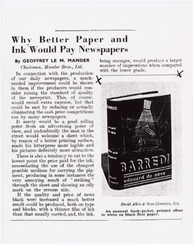007379 - Een publicatie van de originele omslag van ´Barred´in printing supplement van 3 november 1932.