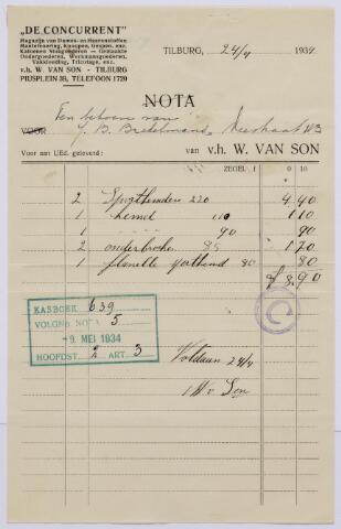 """061180 - Briefhoofd. Nota van """"De Concurrent"""", magazijn van dames- en herenstoffen, v.h. W. van Son, Piusplein 39 voor J.B. Brekelmans, Veestraat 113"""