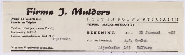 060763 - Briefhoofd. Nota van J. Mulders,  Hout- en Bouwmaterialenhandel N.V., Magazijnstraat 2a, voor A.J. Coolen, Lijnsheike 168