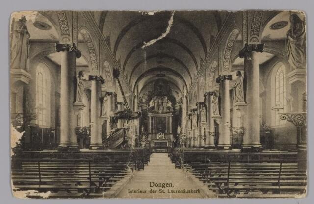 085328 - Dongen. Waterstaatkerk (Laurentiuskerk) welke in 1917 is afgebrand. Interieur.