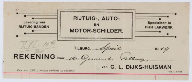 060021 - Briefhoofd. Nota van G.L. Dijks-Huismans, Rijtuig-, Auto- en Motor-schilder voor de gemeente Tilburg
