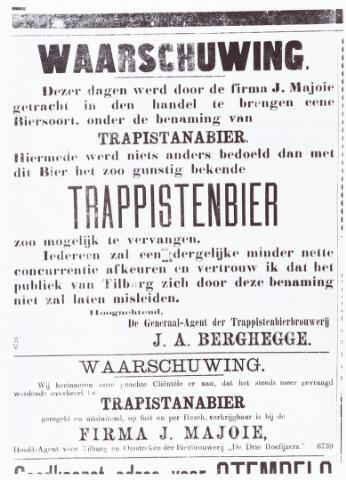 """062301 - Trappistenbier. Krantenbericht om te waarschuwen tegen """"trapistanabier"""" van  Majoie, met daaronder reclame voor datzelfde bier."""