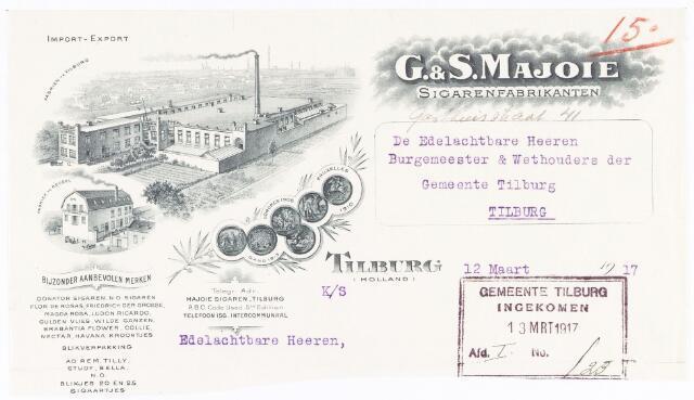 060637 - Briefhoofd. Nota van G. & S. Majoie, sigarenfabrikanten, Gasthuisstraat 41 voor de gemeente Tilburg