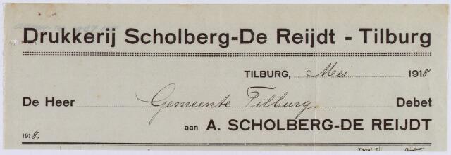 061047 - Briefhoofd. Nota van Stoomdrukkerij A. Scholberg _ de Reijdt, Nieuwlandstraat 1200 voor de gemeente Tilburg