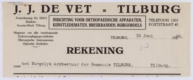 061346 - Briefhoofd. Nota van J.J. de Vet, opticien, Poststraat 45 voor het burgerlijk Armbestuur van Tilburg