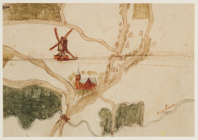 056581 - Detail. Kaart. Manuscriptkaart vervaardigd door Roelof van der Vleuten, notaris en landmeter van Riel en omgeving. Op de kaart de kerk en molen van Riel, de kerk van Goirle, de oudste kerk van Tilburg, de kerk van Alphen en de kerk van Gilze. 1657