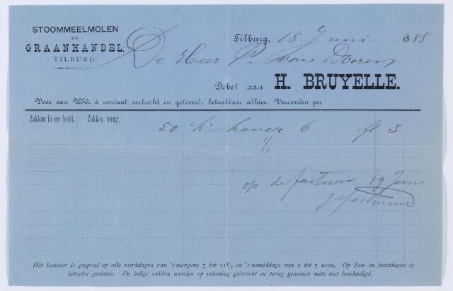 059803 - Briefhoofd. Nota van Stoommeelmolen en Graanhandel H. Bruyelle,voor Piter van Dooren