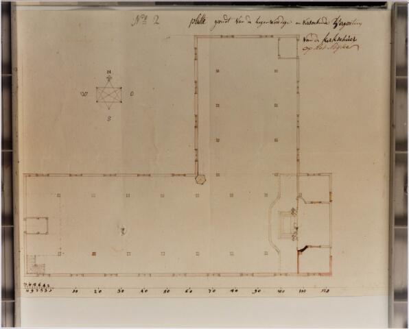 028971 - Tekening. Primus van Gilsstraat. Plan tot vergroting van de schuurkerk aan de Oude Kerkstraat uit 1773.