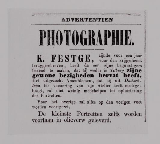 040146 - Advertentie waarin fotograaf K. Festge aankondigt terug te zijn na militaire dienstplicht.