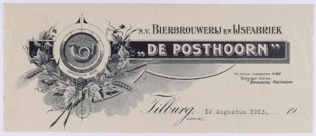 """060924 - Briefhoofd. Briefhoofd van N.V. Bierbrouwerij en Ijsfabriek """"De Posthoorn"""", Korvel"""