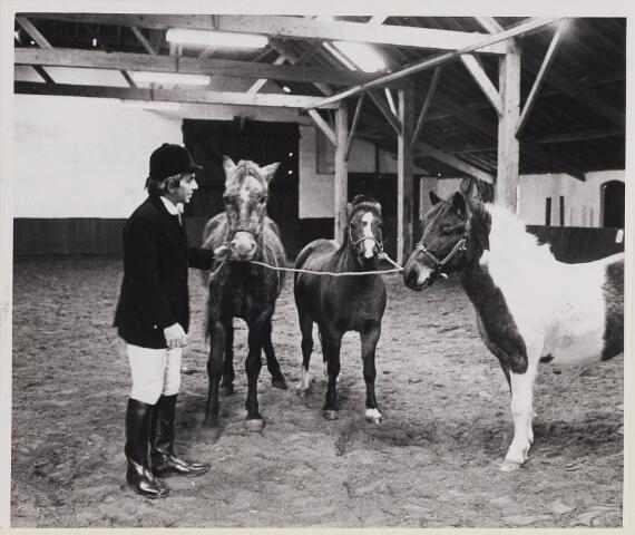 """084797 - Paardensport. Ruiter met enkele pony's; Manege van """"De Enclaveruiters"""" 01-11-1974"""